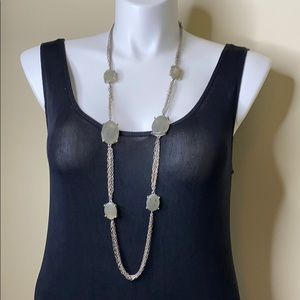 Chico's Gray Stone and Silver Chain Necklace